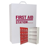 Four Shelf Empty Metal First Aid Station with Pouch
