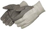 Cotton Canvas Gloves With Black PVC Dots