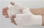 Natural White Cotton Blend Fingerless String Knit Gloves