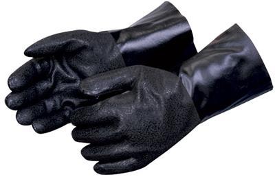 Rough Finish Black Knit Wrist PVC Gloves