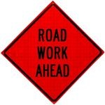 Road Work Ahead Roll Up Traffic Sign