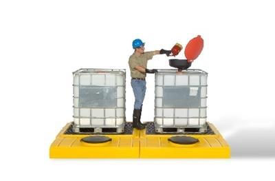 Indoor Modular 2-Tank IBC Spill Pallet