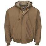 Bulwark® Brown Duck Hooded Jacket with Knit Trim