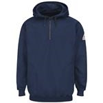 Bulwark® Cotton/Spandex Blend Pullover Hooded Fleece Sweatshirt with 1/4 Zip