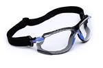 Safety Glasses 1000-Series S1101SGAF-KT, Kit, Foam, Strap, Black/Blue, Clear Scotchgard™ Anti-fog lens