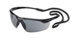 Conqueror® Glossy Black Frame Gray Safety Glasses
