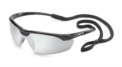 Conqueror® Glossy Black Frame Silver Mirror Safety Glasses