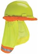 MSA Yellow-Green Hard Hat Sunshade with Reflective Striping