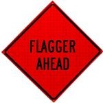 Flagger Ahead Roll Up Traffic Sign