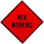 Men Working Roll Up Traffic Sign
